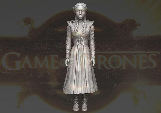 daenerys targaryen game of thrones 3d printing ready stl obj 3d model obj mtl stl wrl wrz 1