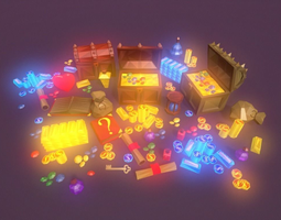 3D asset Low Poly Fantasy Loot Basic Packs