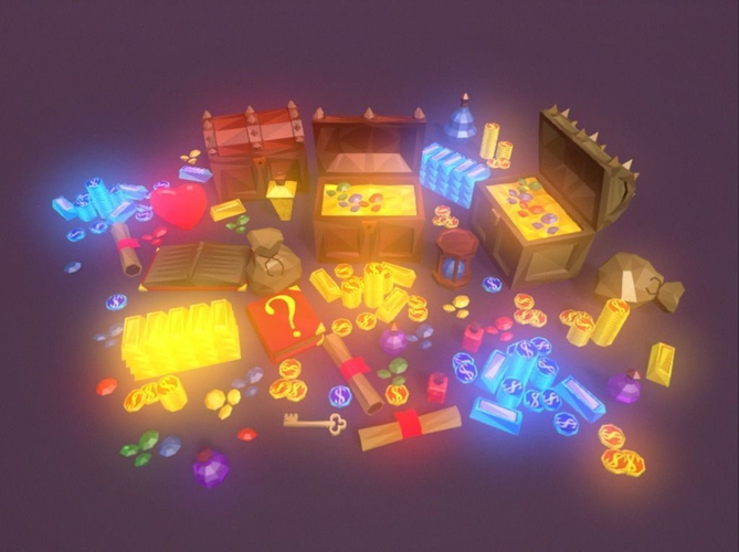 low poly fantasy loot basic packs 3d model low-poly animated obj mtl fbx unitypackage prefab 1