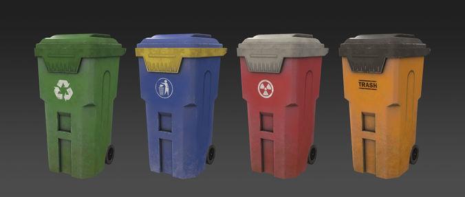 trash can 3d model low-poly max obj mtl fbx ma mb tga 1