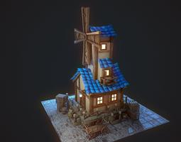 3D model mill in a fairy-tale style