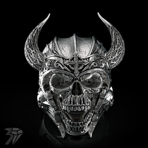 skull ring 3d model obj mtl stl ztl 1