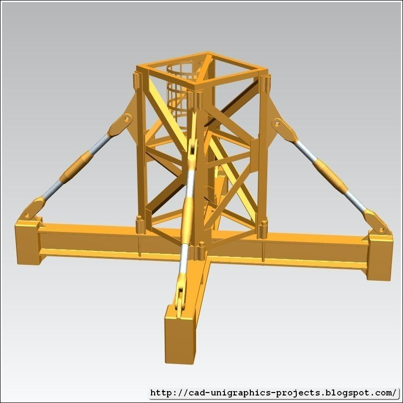 Tower Crane Design : Tower crane body segment ground base free d model