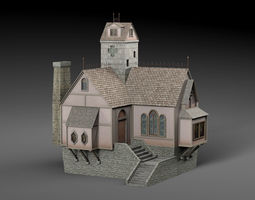 3D asset low-poly Medieval house