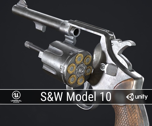pbr smith and wesson model 10 3d model low-poly obj fbx ma mb dae 1