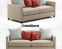 3D Crate and Barrel Dryden Apartment Sofa barrel