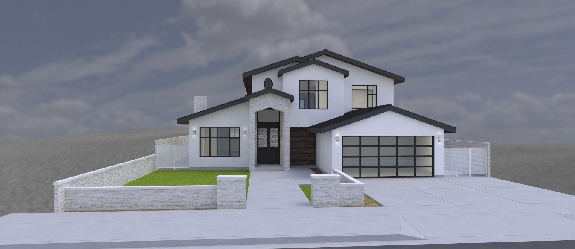 Modern house 2 story 4 bedrooms 2 car garage residential 3d model