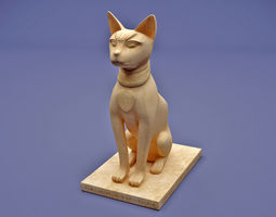 3D ancient egyptian cat statue