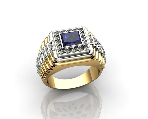 Mens diamond and sapphire rolex ring 3d print model for Sapphire studios jewelry reviews
