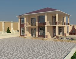 2 story house dimensions 3D model