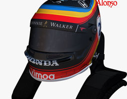 3D model Alonso indy helmet 2017