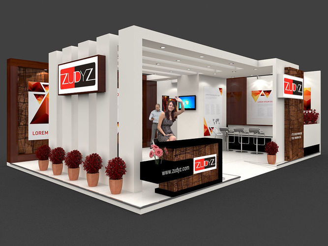 Garment Exhibition Stall : Exhibition stall d model mtr sides open
