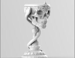 3D print model Scull goblet V2 with snake