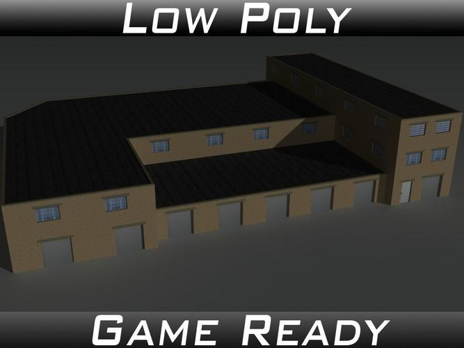 factory building 35 3d model low-poly obj 3ds fbx mtl 1