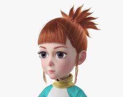 Cartoon Girl NoRig 3D model