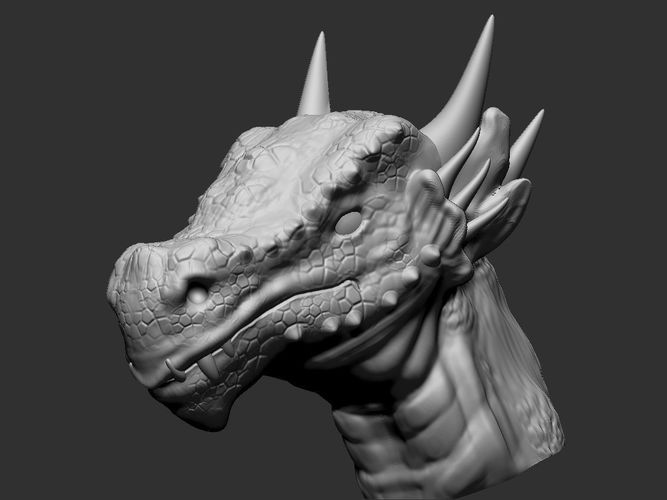 dragon head 2 3d model obj mtl stl 1