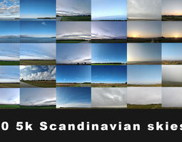 50 5K Scandinavian Skies background 3D model