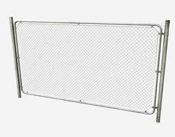 Low Poly PBR Modular Chain Link Fence 3D model