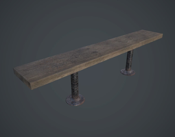 3D model Old Wooden Bench PBR Game Ready