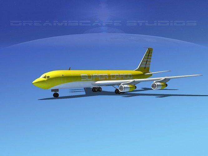 boeing 707 super cargo 3d model max obj mtl 3ds lwo lw lws dxf stl 1
