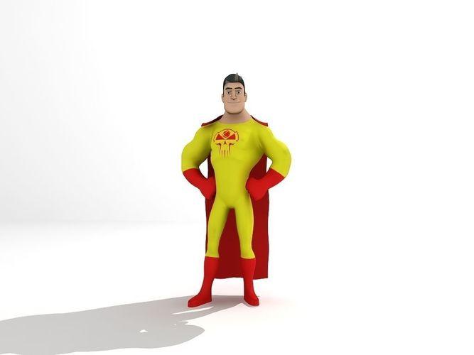 super hero 3d model low-poly rigged animated max fbx tga 1
