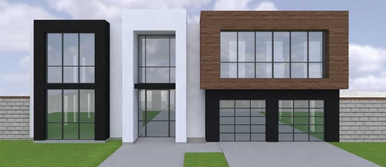 2 Story Large Modern House With Cad Floor Plan 3d Model
