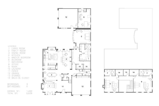 3D 2 story large modern house with cad floor plan – 2 Story Modern House Floor Plans