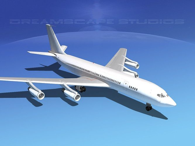 boeing 707 unmarked 3 3d model max obj mtl 3ds lwo lw lws dxf stl 1