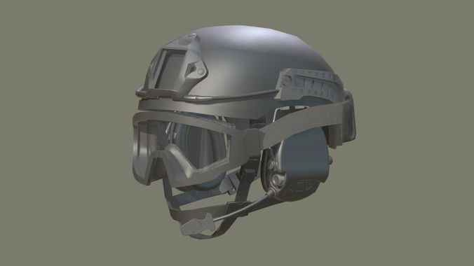 modular integrated communications helmet mich 3d model low-poly obj blend mtl 1