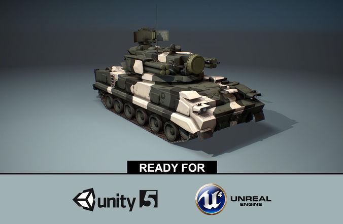 2K22 Tunguska -  Russian SAM Low-poly  3D model