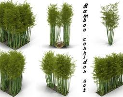 Bamboo corridor set 3D model