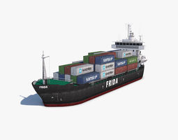 Cargo Ship carrier 3D asset