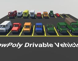 3D model Low Poly Drivable Vehicles