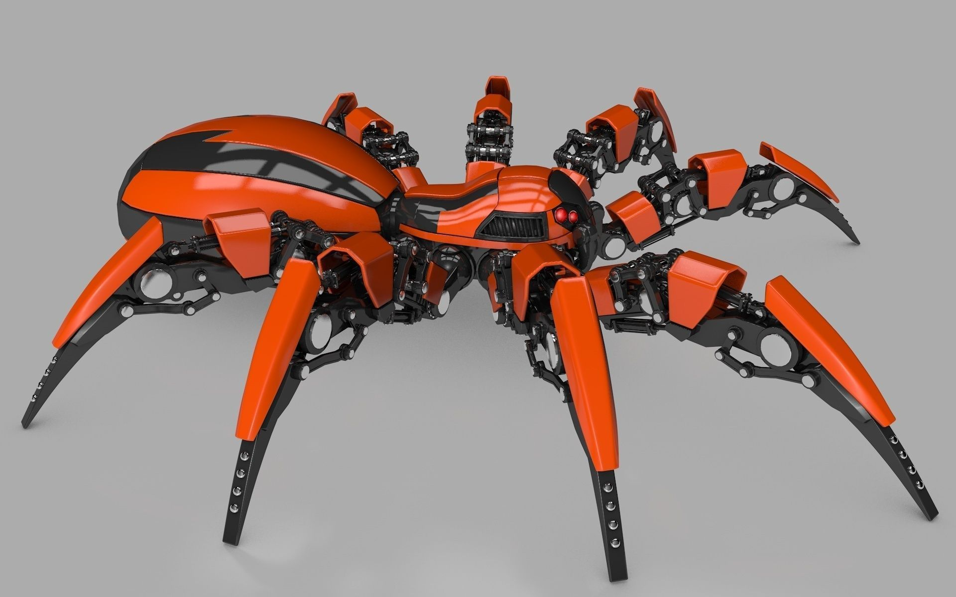 Spider Robot 3d Model Rigged Obj 3ds Fbx C4d