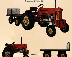 Cartoon Tractor And wagon 3D asset