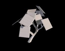 low-poly 3d model solar tree