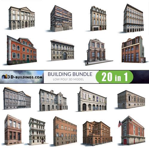 building facades bundle2 3d model low-poly max obj 3ds fbx 1
