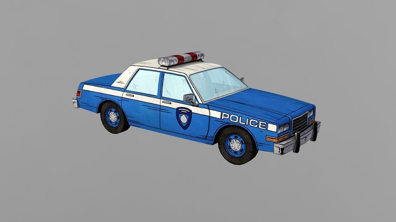 3D asset Classic Cars Police NYPD AMERICAN CARTOON