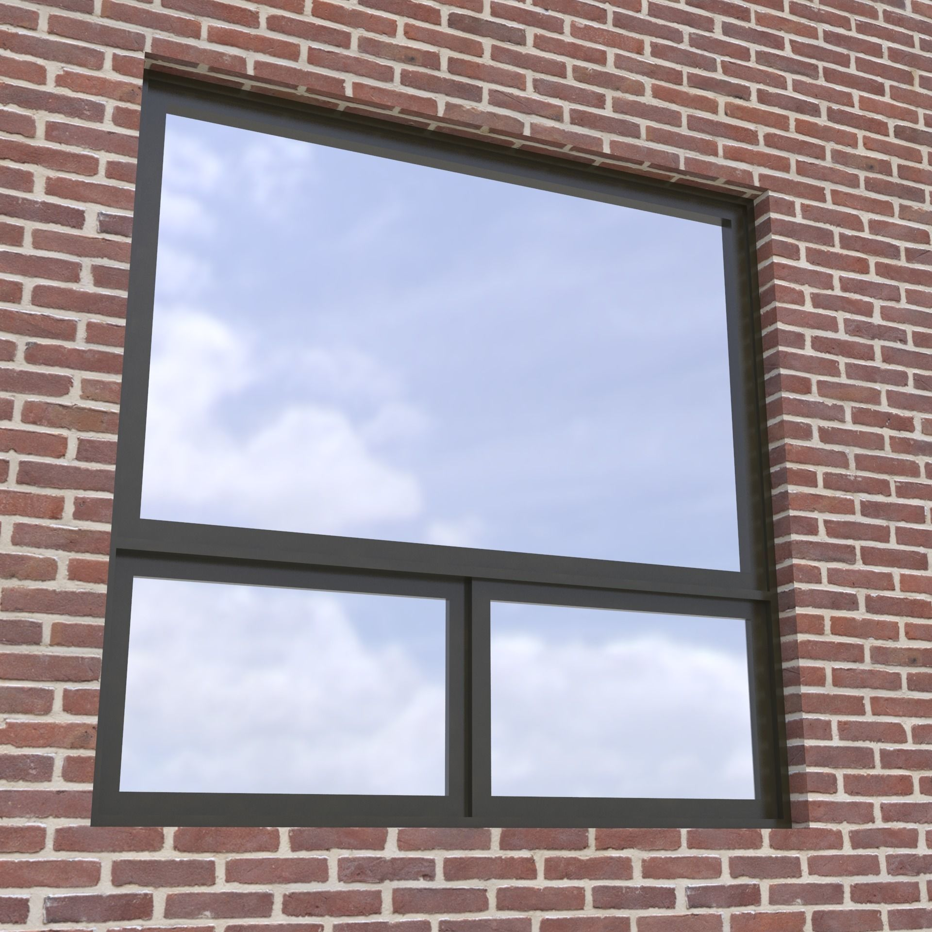 Modern Architectural Window Fixed With Bottom Sliders Model