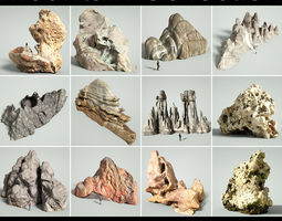 Mountain Collection Realistic Rocks 12 tems 3D asset