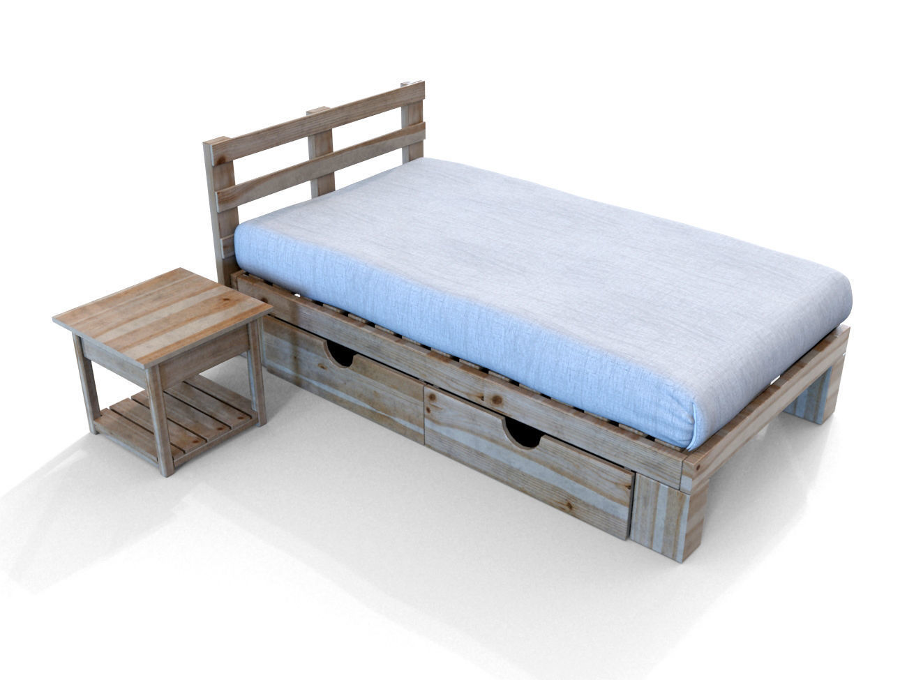 Attrayant Simple Wooden Bed 3D Model