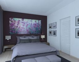 Wonderful bedroom with violet curtains puf 3D model