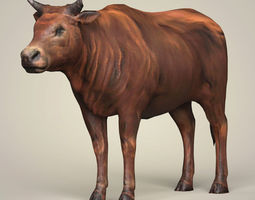 3D model Game Ready Low Poly Bull