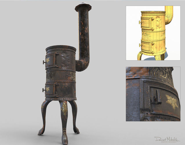 old stove low poly pbr 3d model max obj mtl 3ds fbx 1