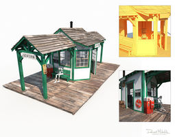 Western Train Station Low Poly 3D asset