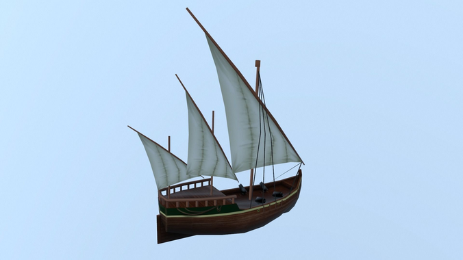 free ships 3d model low-poly fbx 1