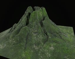 3D asset Low poly volcano mountain model