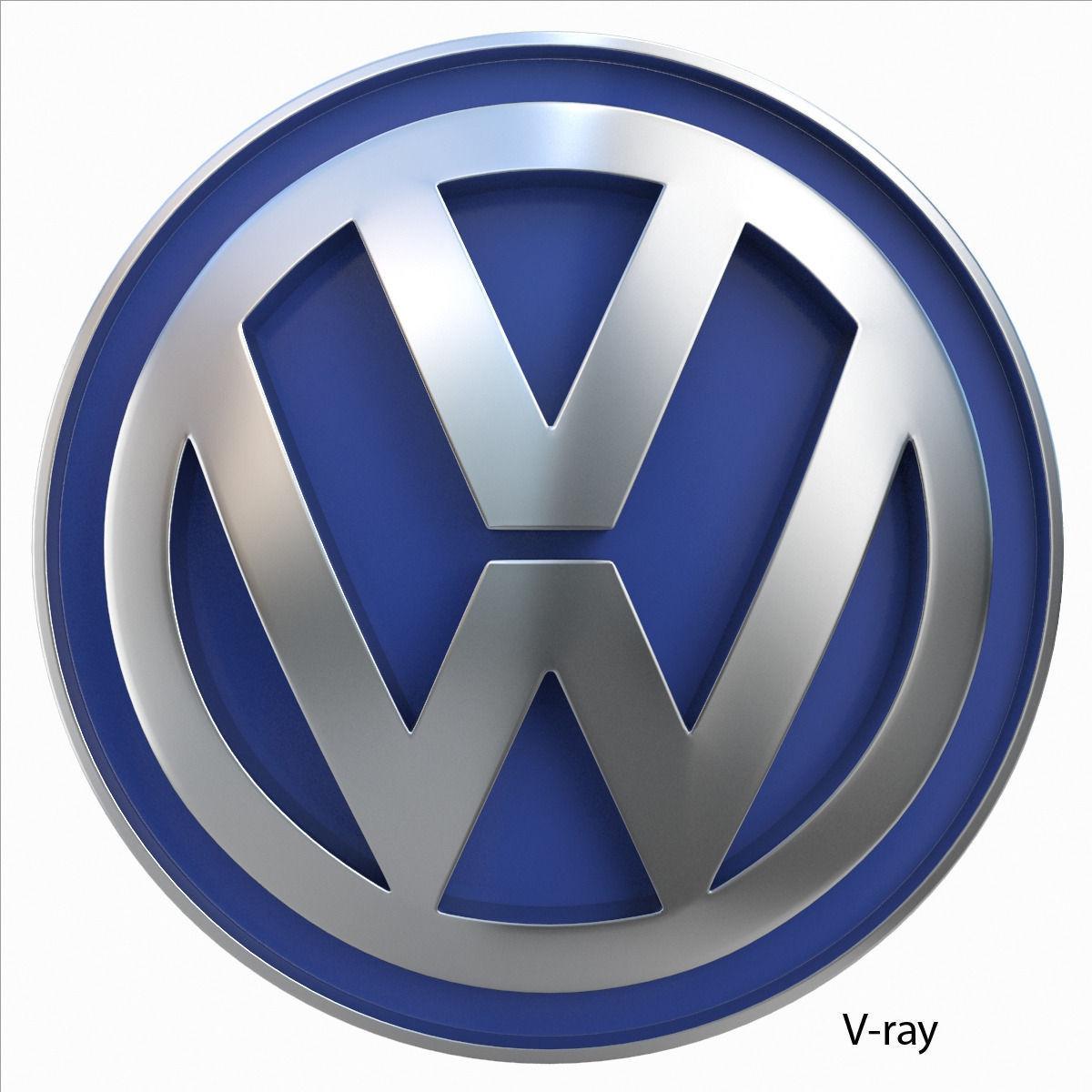 volkswagen logo 3d model  max  obj  3ds  fbx