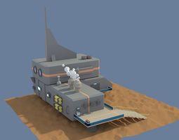 3D asset Low Poly Cartoony Sci Fi Building 3