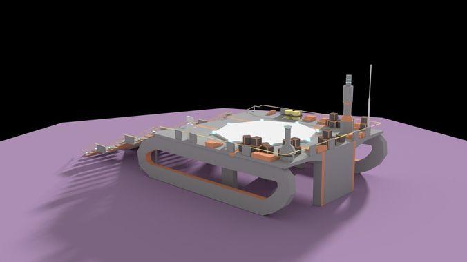 low poly spaceship platform 3d model low-poly obj mtl 3ds fbx blend dae 1